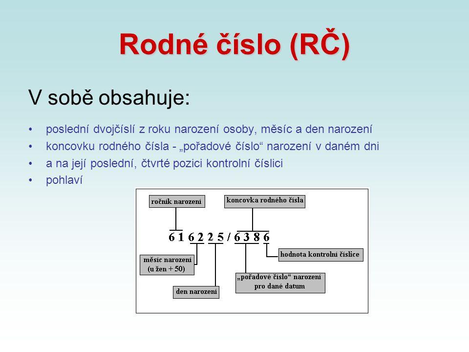 Rodné číslo (RČ) V sobě obsahuje: