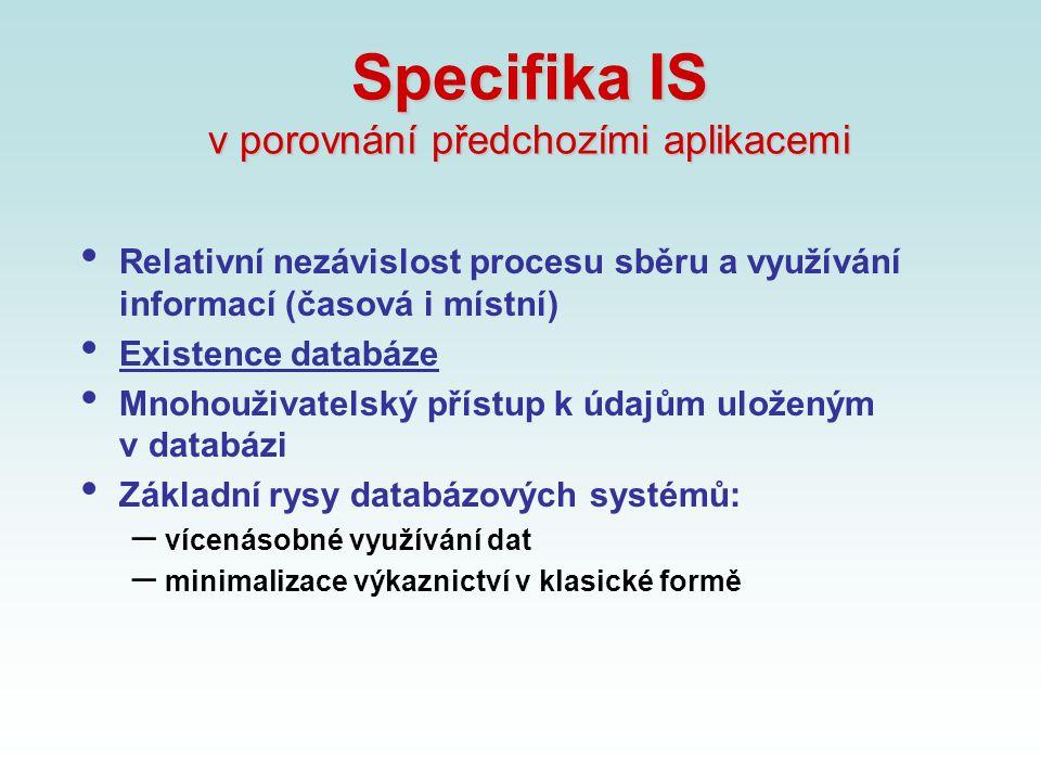 Specifika IS v porovnání předchozími aplikacemi