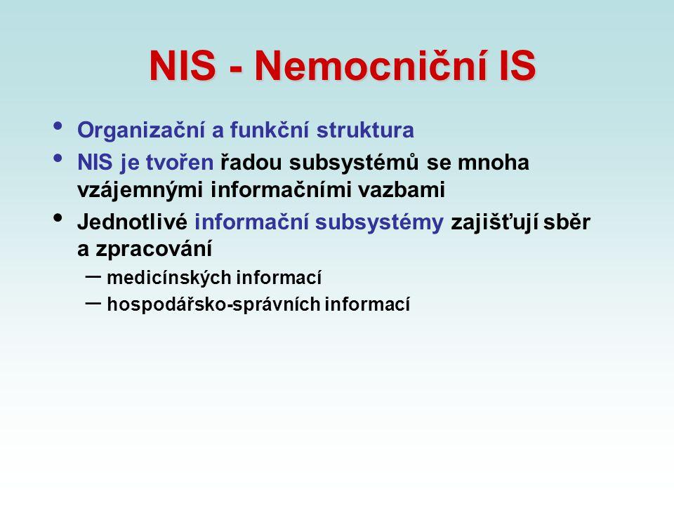 NIS - Nemocniční IS Organizační a funkční struktura