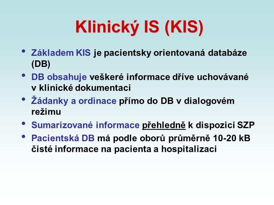 Klinický IS (KIS) Základem KIS je pacientsky orientovaná databáze (DB)