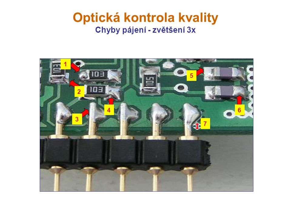 Optická kontrola kvality Chyby pájení - zvětšení 3x