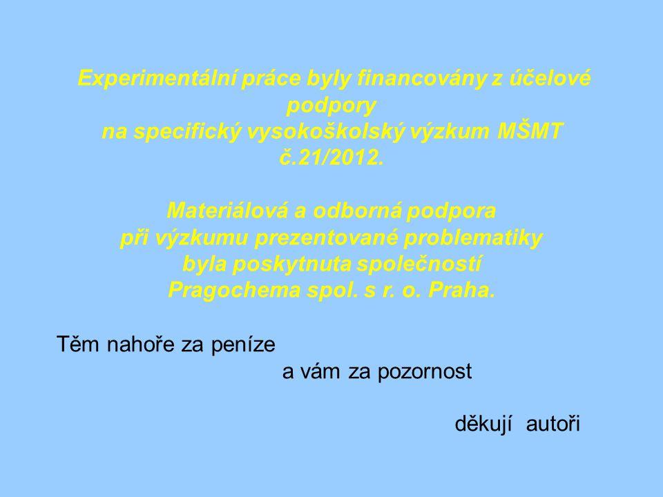 na specifický vysokoškolský výzkum MŠMT č.21/2012.