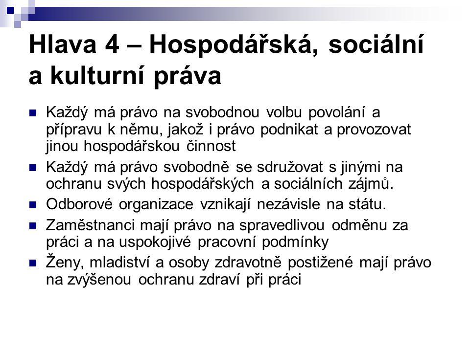Hlava 4 – Hospodářská, sociální a kulturní práva