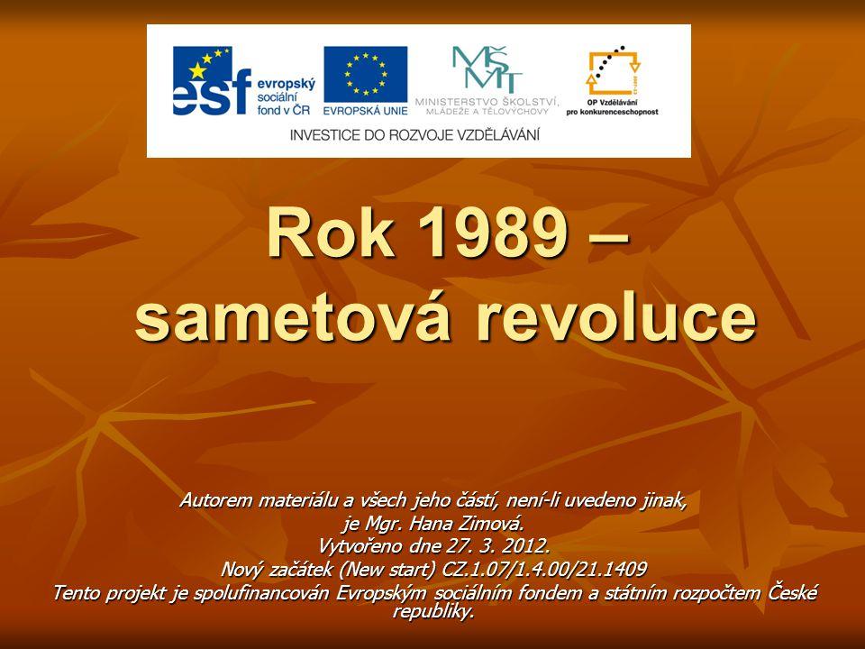 Rok 1989 – sametová revoluce