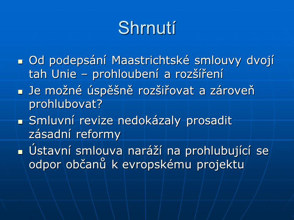 Shrnutí Od podepsání Maastrichtské smlouvy dvojí tah Unie – prohloubení a rozšíření. Je možné úspěšně rozšiřovat a zároveň prohlubovat