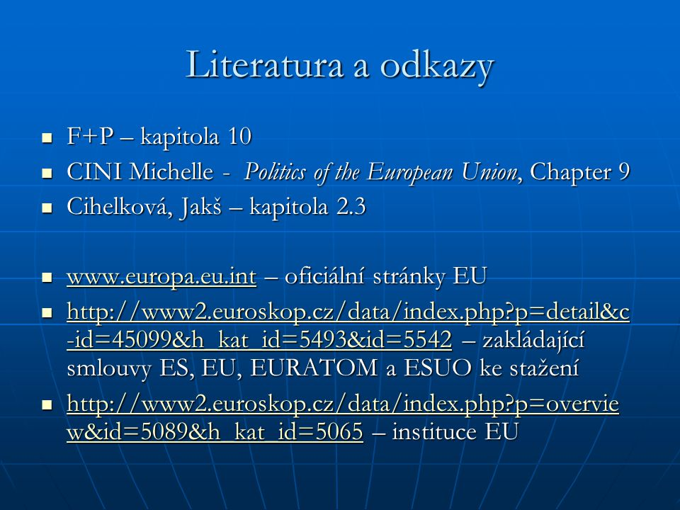 Literatura a odkazy F+P – kapitola 10