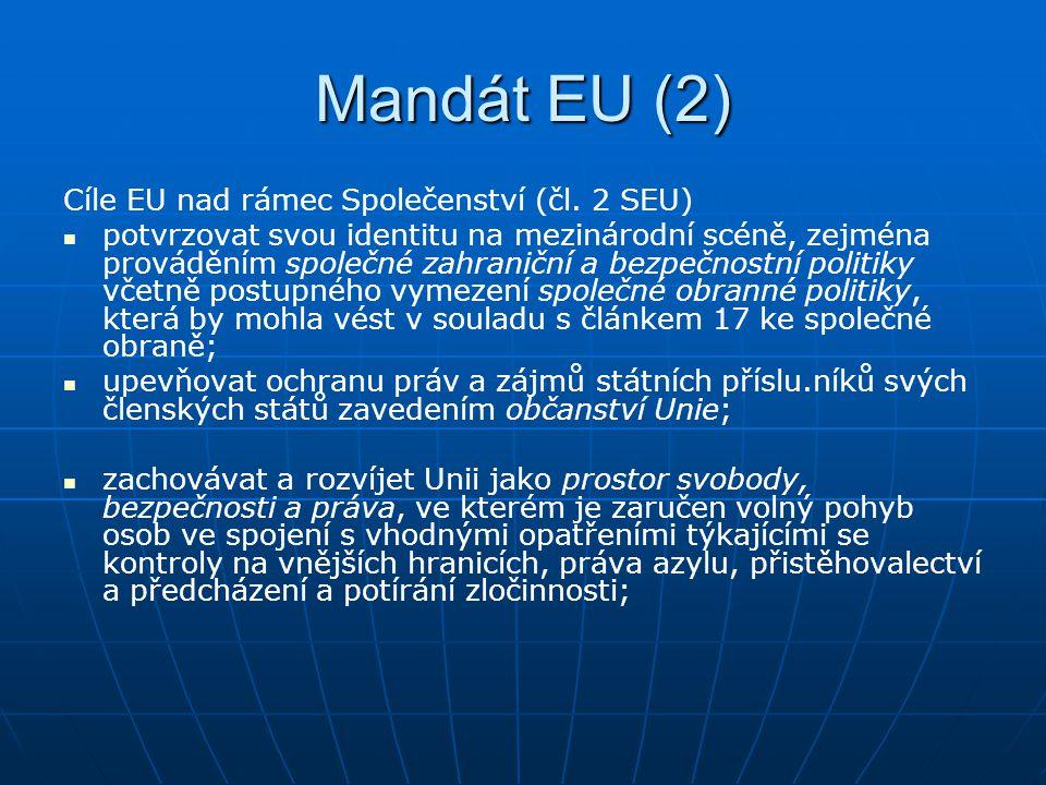 Mandát EU (2) Cíle EU nad rámec Společenství (čl. 2 SEU)
