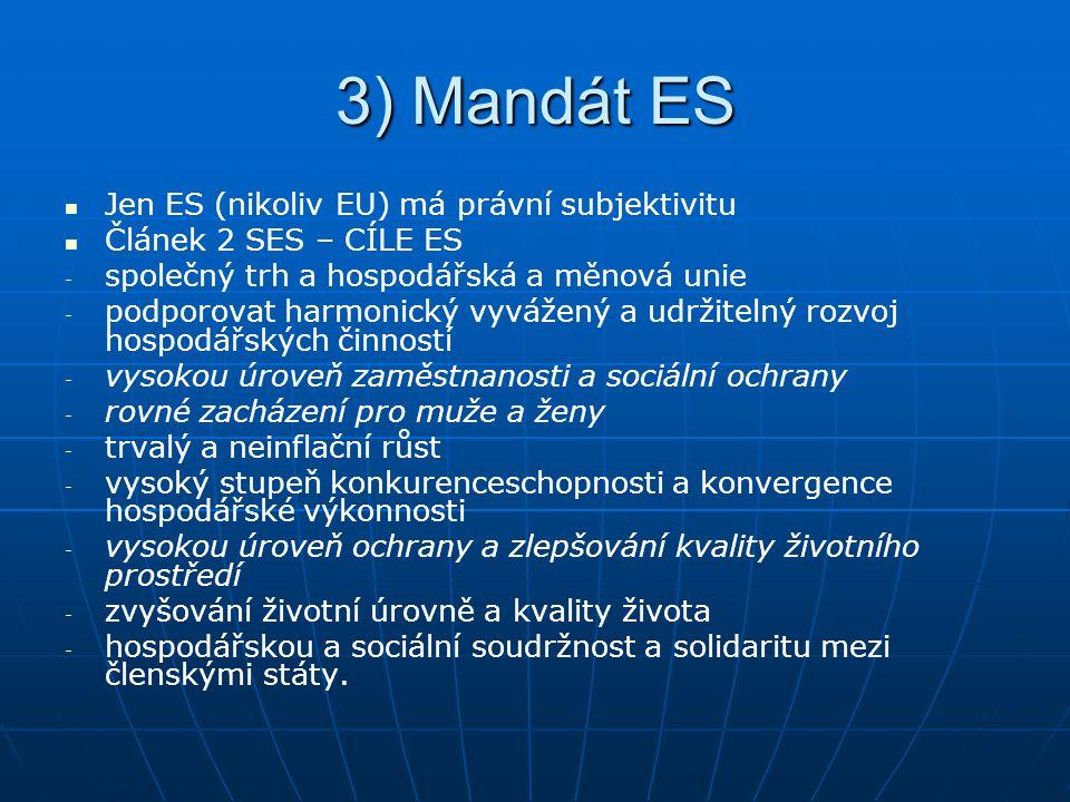 3) Mandát ES Jen ES (nikoliv EU) má právní subjektivitu