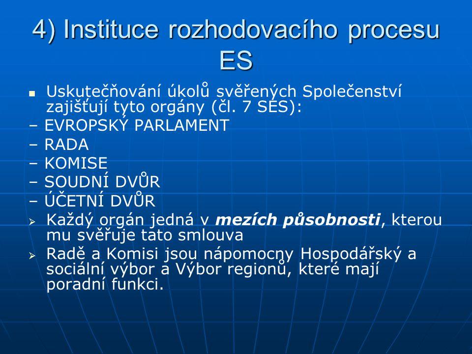 4) Instituce rozhodovacího procesu ES