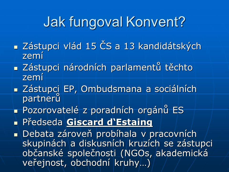 Jak fungoval Konvent Zástupci vlád 15 ČS a 13 kandidátských zemí