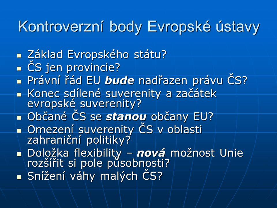 Kontroverzní body Evropské ústavy