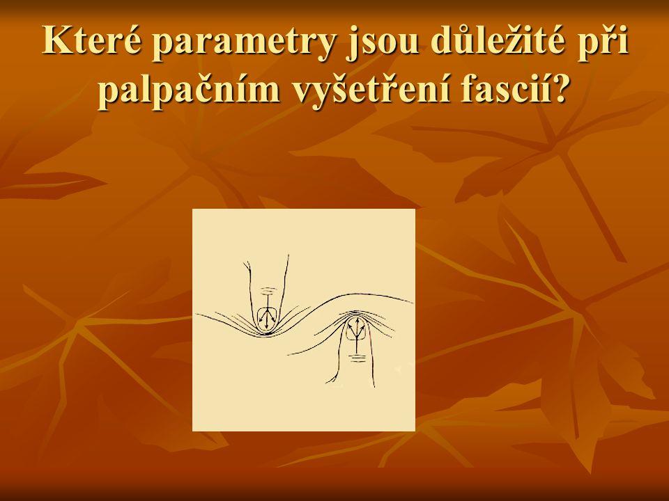 Které parametry jsou důležité při palpačním vyšetření fascií