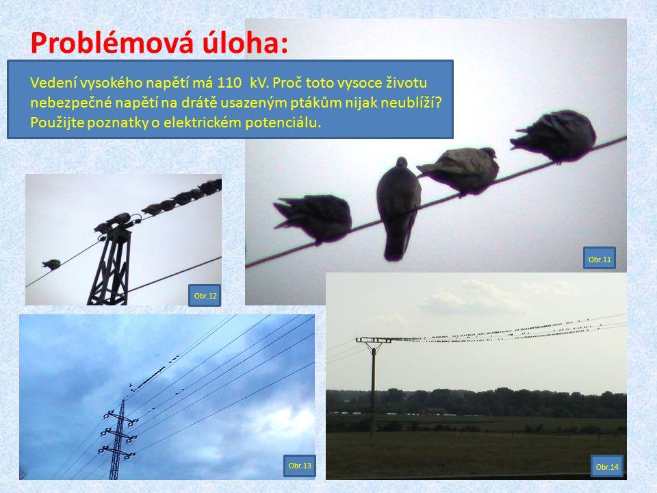 Problémová úloha: Vedení vysokého napětí má 110 kV. Proč toto vysoce životu nebezpečné napětí na drátě usazeným ptákům nijak neublíží