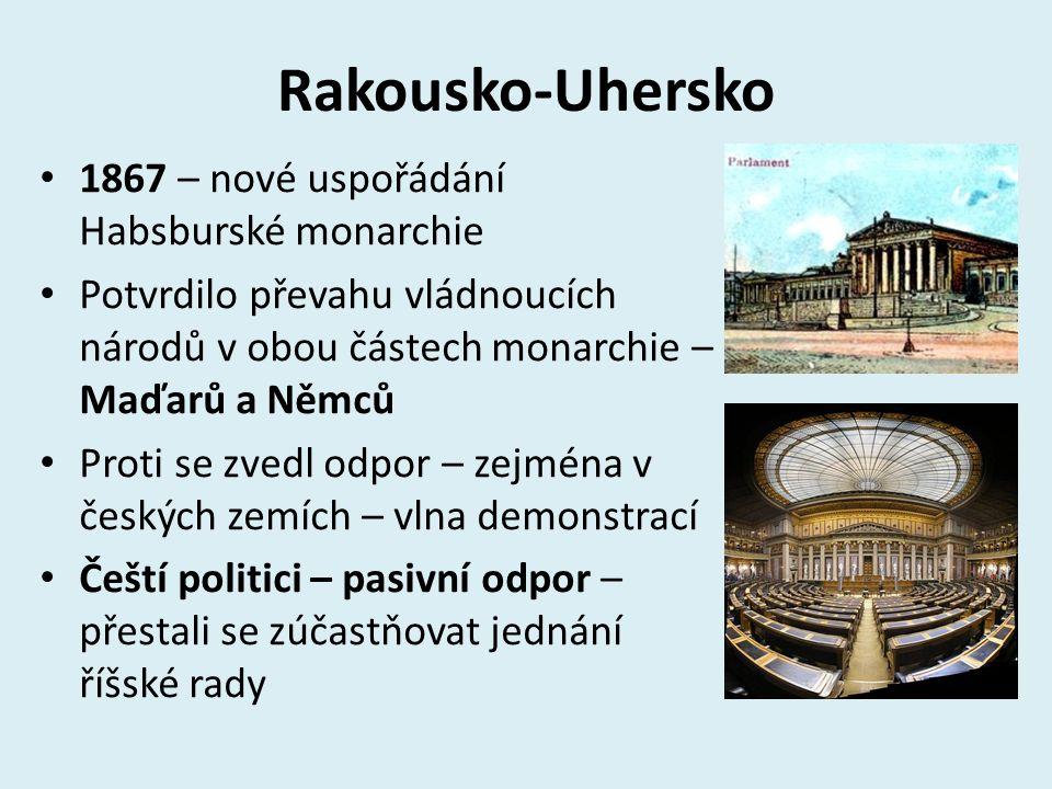 Rakousko-Uhersko 1867 – nové uspořádání Habsburské monarchie