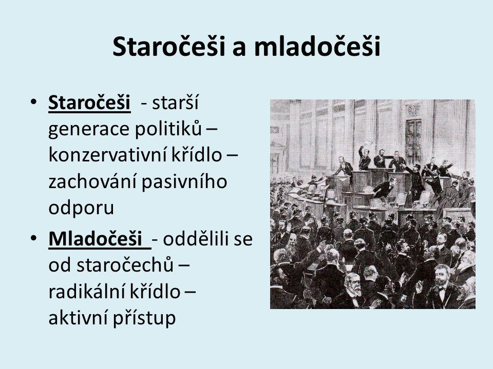 Staročeši a mladočeši Staročeši - starší generace politiků – konzervativní křídlo – zachování pasivního odporu.