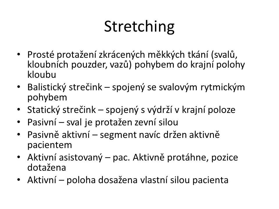 Stretching Prosté protažení zkrácených měkkých tkání (svalů, kloubních pouzder, vazů) pohybem do krajní polohy kloubu.