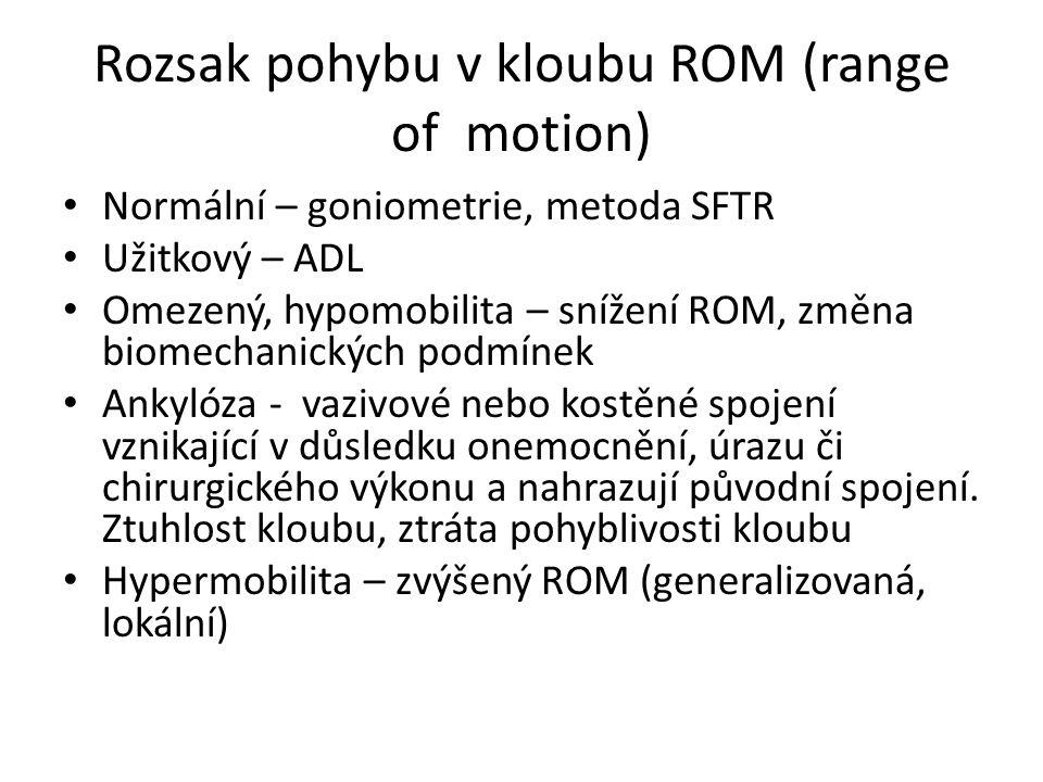Rozsak pohybu v kloubu ROM (range of motion)