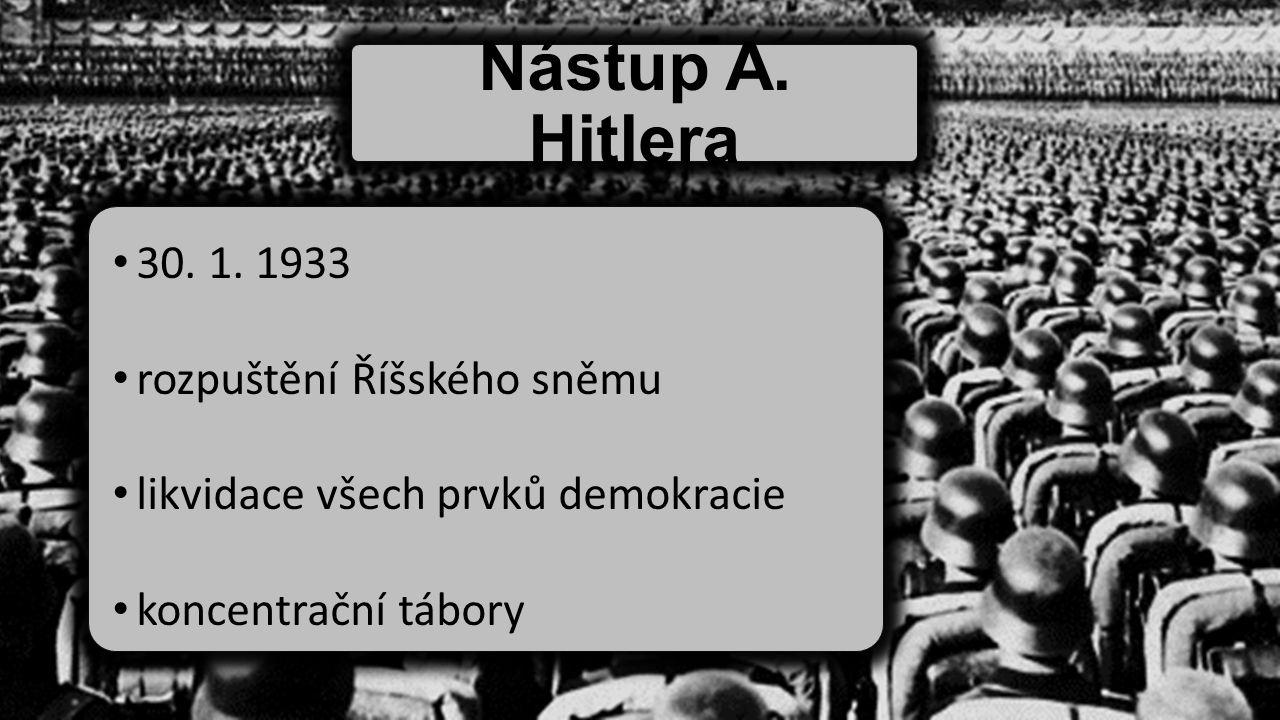 Nástup A. Hitlera 30. 1. 1933 rozpuštění Říšského sněmu