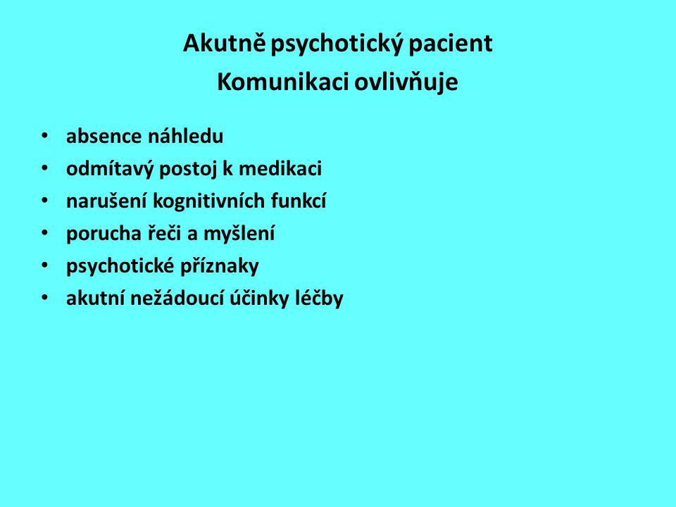 Akutně psychotický pacient Komunikaci ovlivňuje