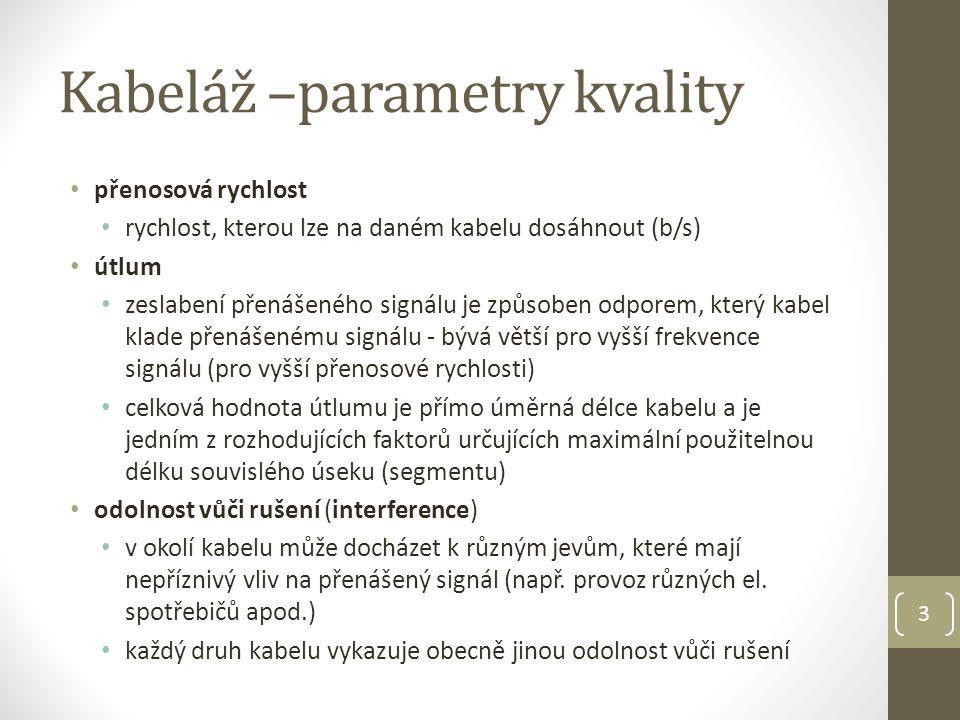 Kabeláž –parametry kvality