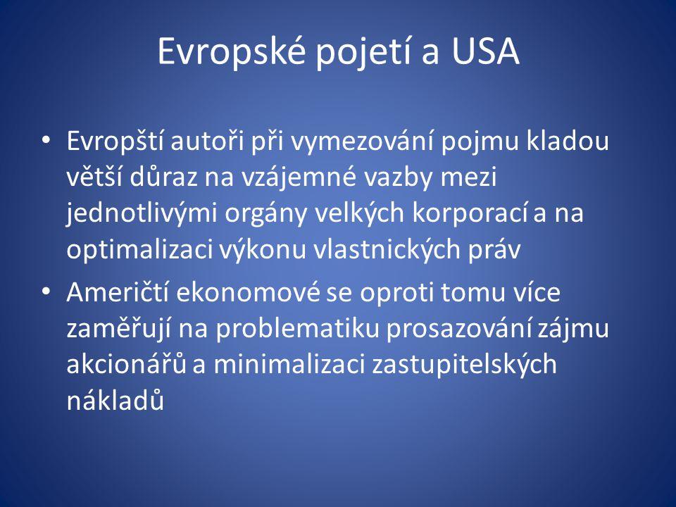 Evropské pojetí a USA