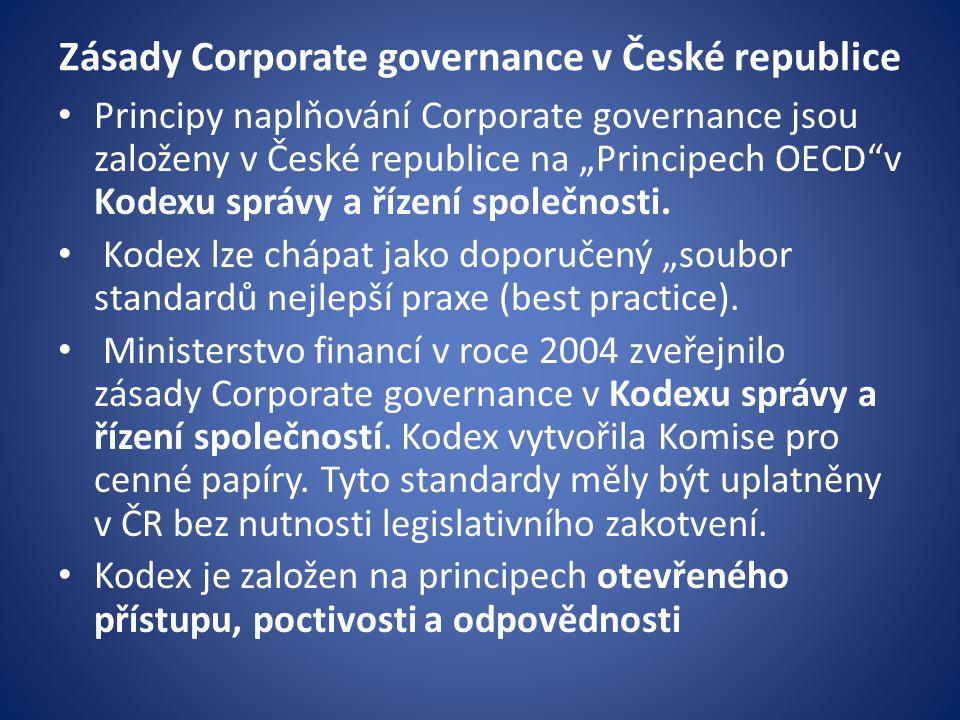 Zásady Corporate governance v České republice