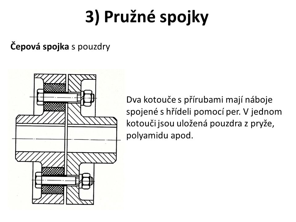 3) Pružné spojky Čepová spojka s pouzdry