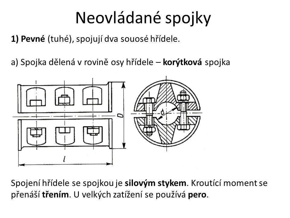 Neovládané spojky 1) Pevné (tuhé), spojují dva souosé hřídele.