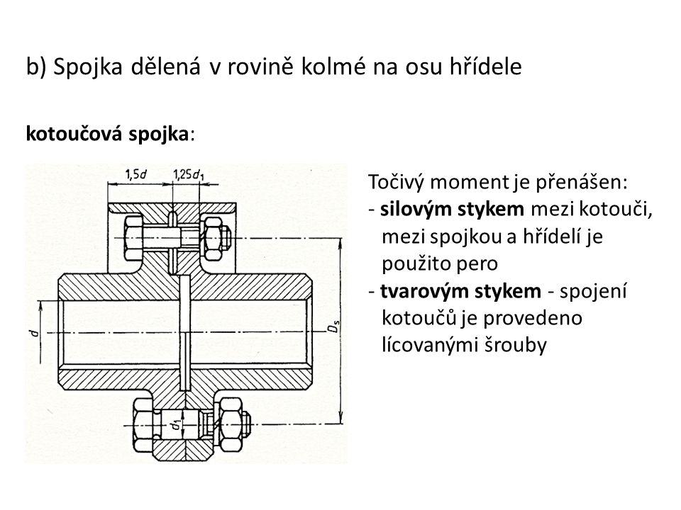 b) Spojka dělená v rovině kolmé na osu hřídele