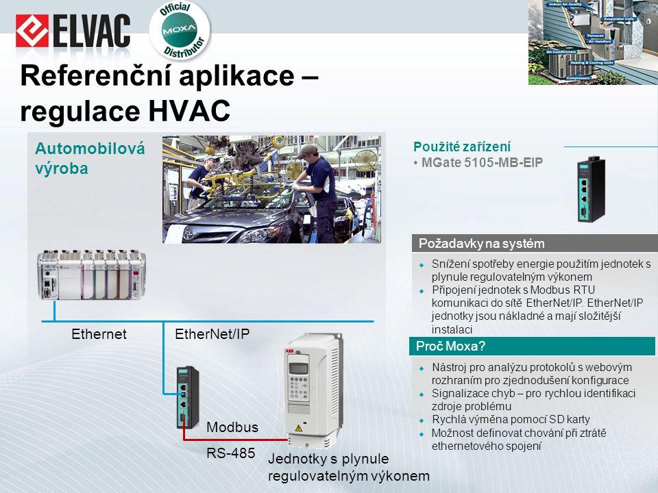 Referenční aplikace – regulace HVAC