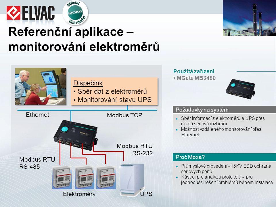 Referenční aplikace – monitorování elektroměrů