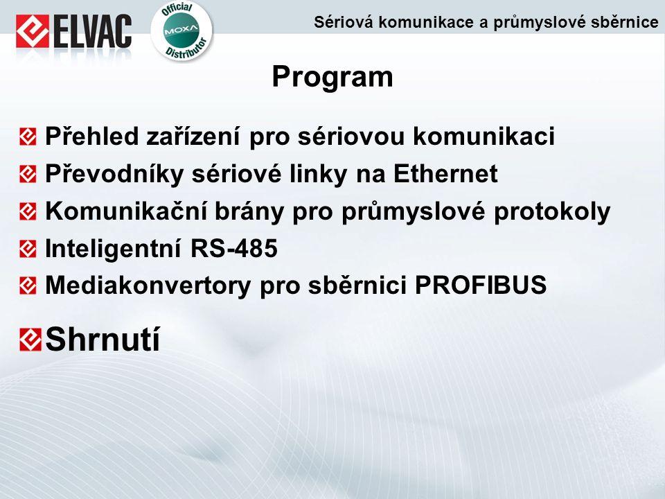 Shrnutí Program Přehled zařízení pro sériovou komunikaci