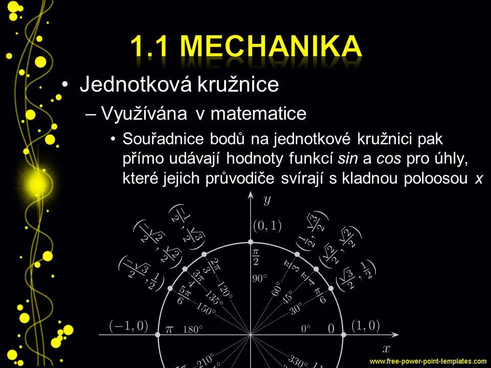1.1 Mechanika Jednotková kružnice Využívána v matematice