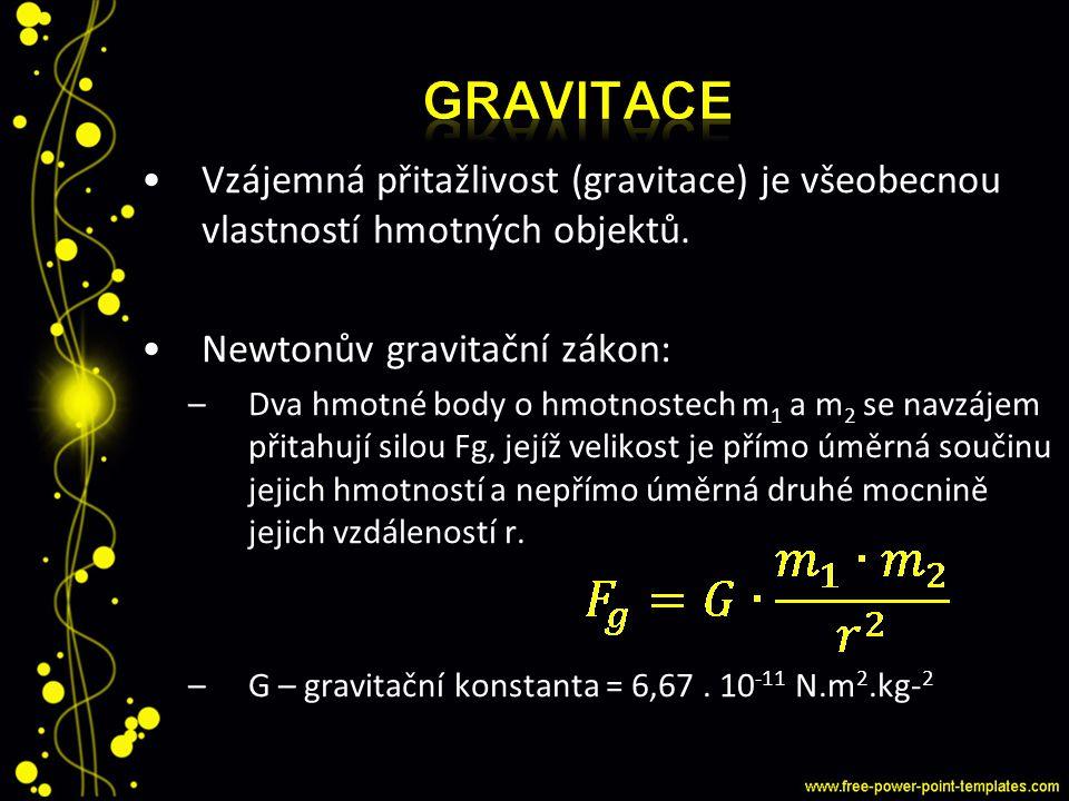 GRAVitace Vzájemná přitažlivost (gravitace) je všeobecnou vlastností hmotných objektů. Newtonův gravitační zákon: