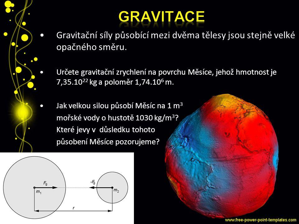 GRAVitace Gravitační síly působící mezi dvěma tělesy jsou stejně velké opačného směru.