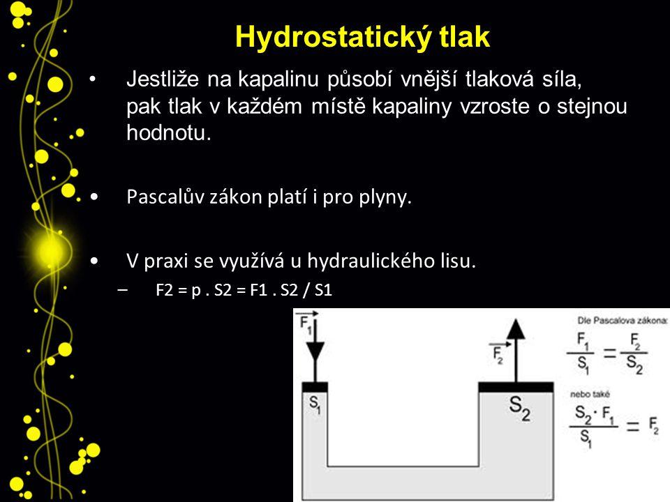 Hydrostatický tlak Jestliže na kapalinu působí vnější tlaková síla, pak tlak v každém místě kapaliny vzroste o stejnou hodnotu.