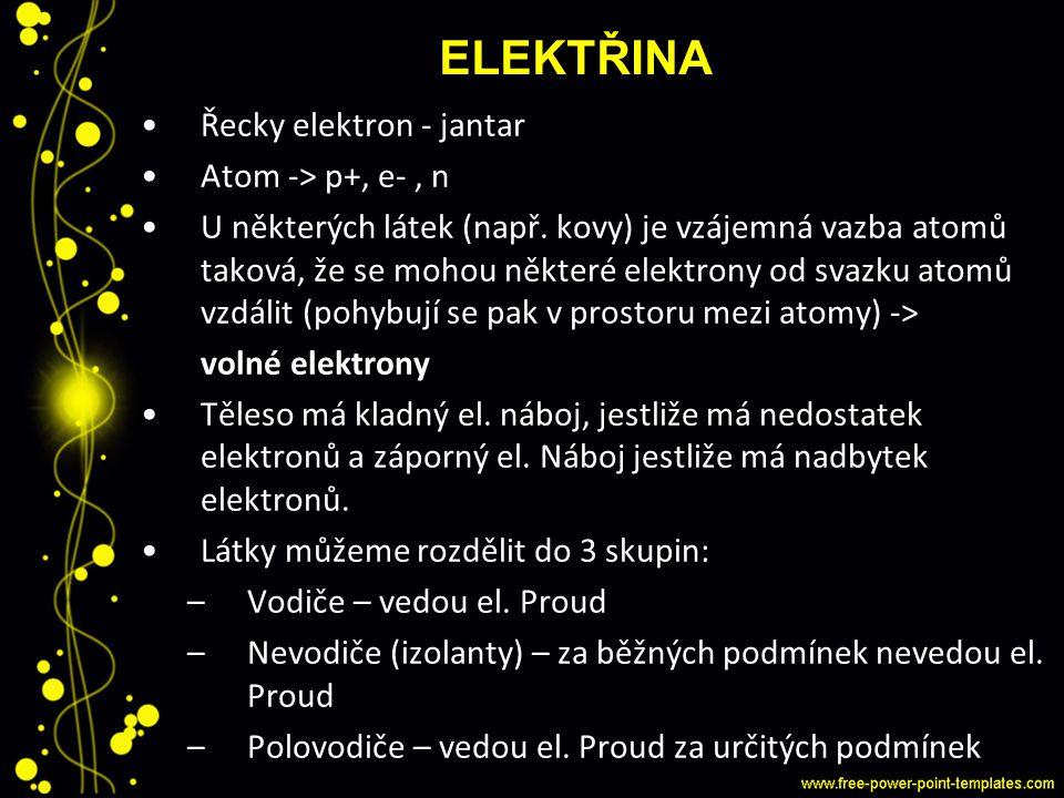 Elektřina Řecky elektron - jantar Atom -> p+, e- , n