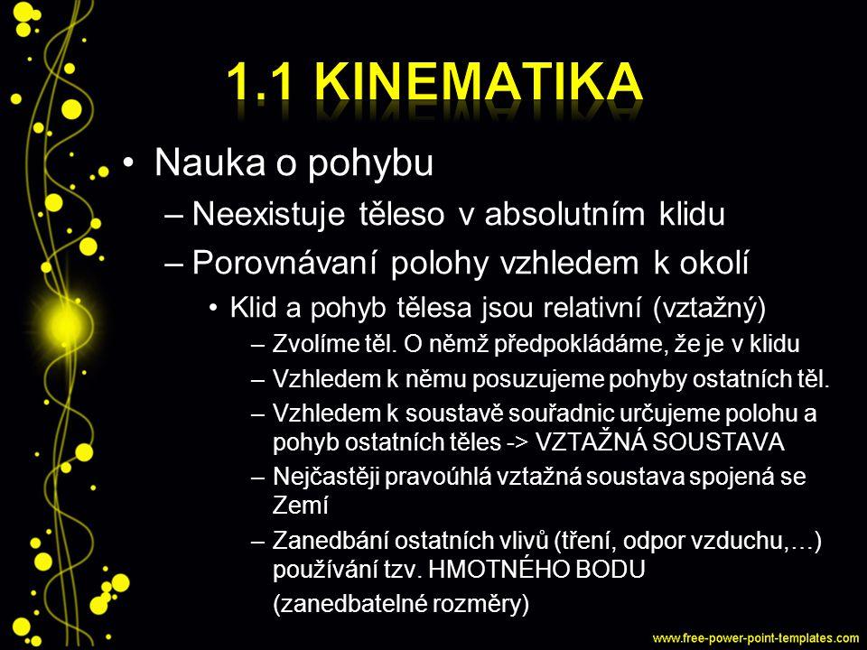 1.1 kinematika Nauka o pohybu Neexistuje těleso v absolutním klidu