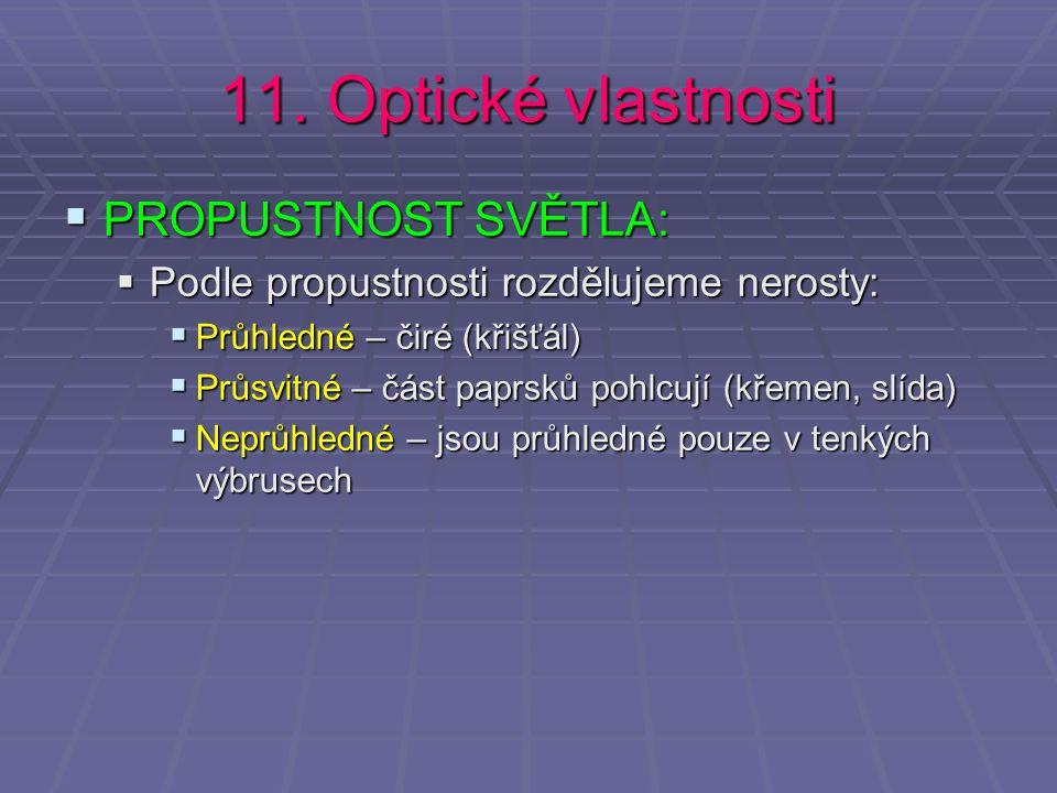 11. Optické vlastnosti PROPUSTNOST SVĚTLA: