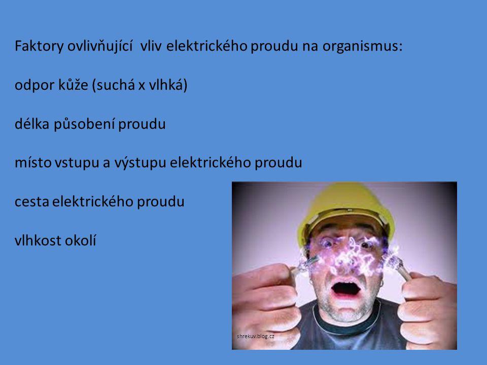 Faktory ovlivňující vliv elektrického proudu na organismus: