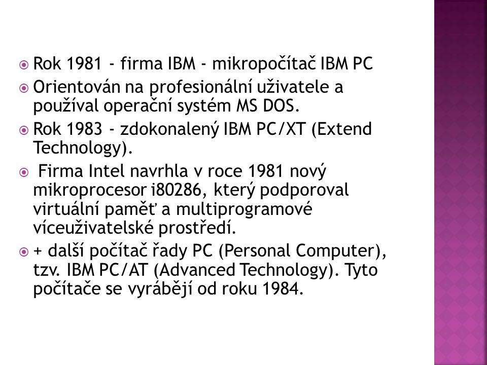 Rok 1981 - firma IBM - mikropočítač IBM PC