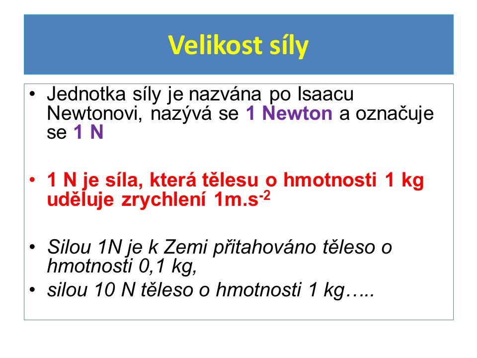 Velikost síly Jednotka síly je nazvána po Isaacu Newtonovi, nazývá se 1 Newton a označuje se 1 N.