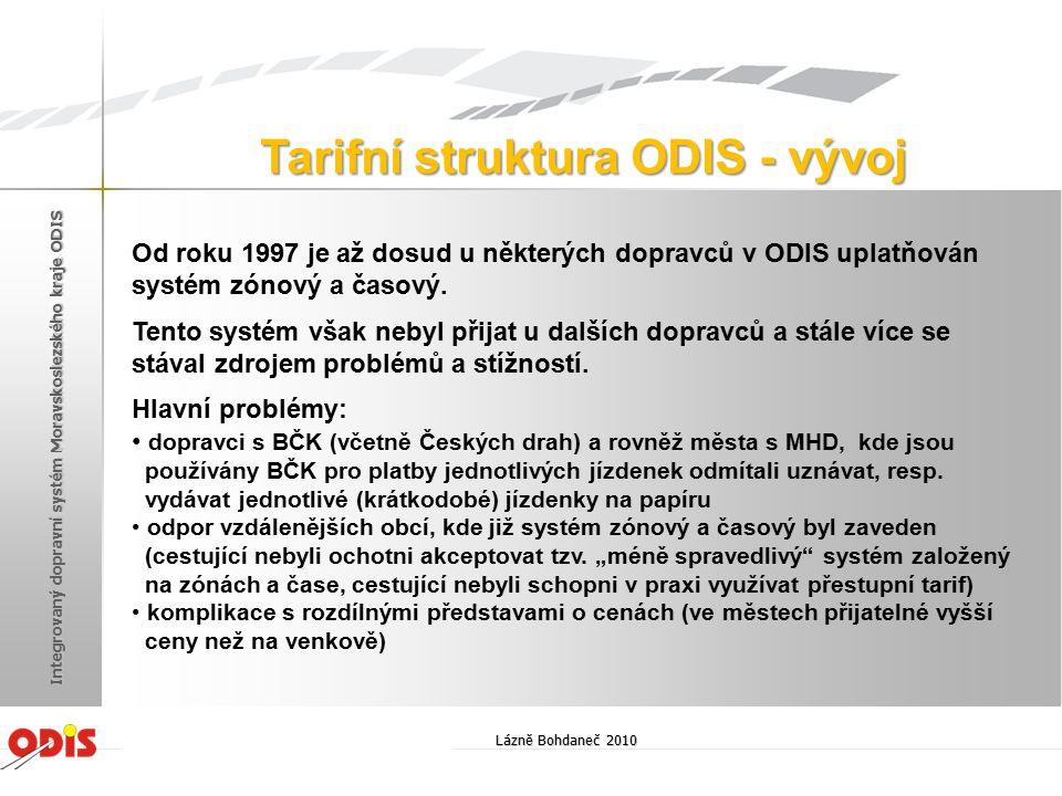 Tarifní struktura ODIS - vývoj