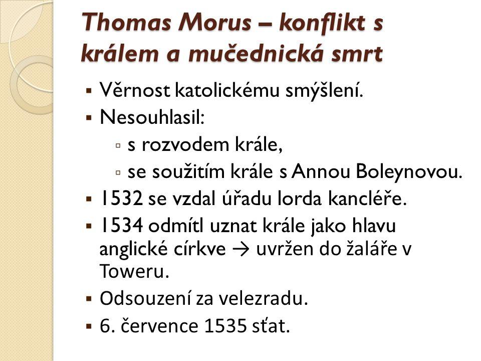 Thomas Morus – konflikt s králem a mučednická smrt