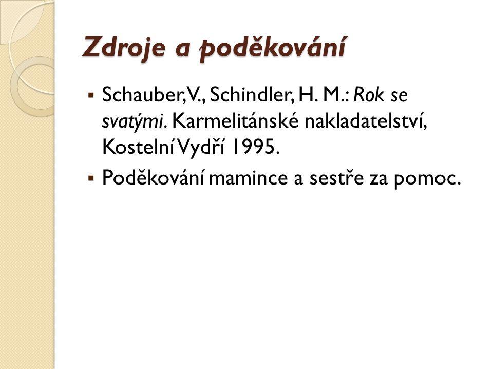 Zdroje a poděkování Schauber, V., Schindler, H. M.: Rok se svatými. Karmelitánské nakladatelství, Kostelní Vydří 1995.