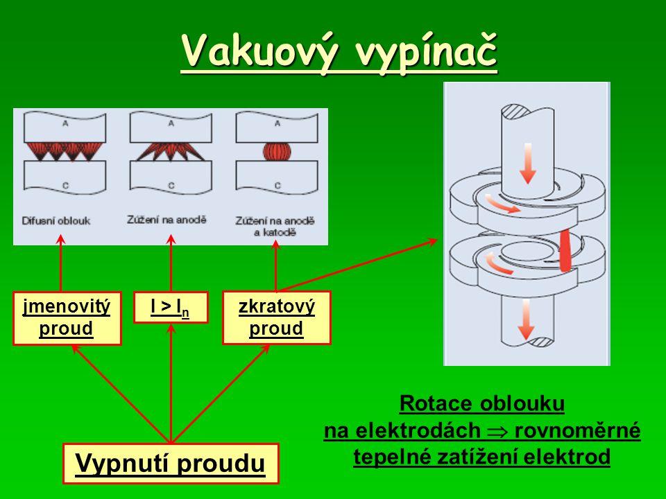 na elektrodách  rovnoměrné tepelné zatížení elektrod