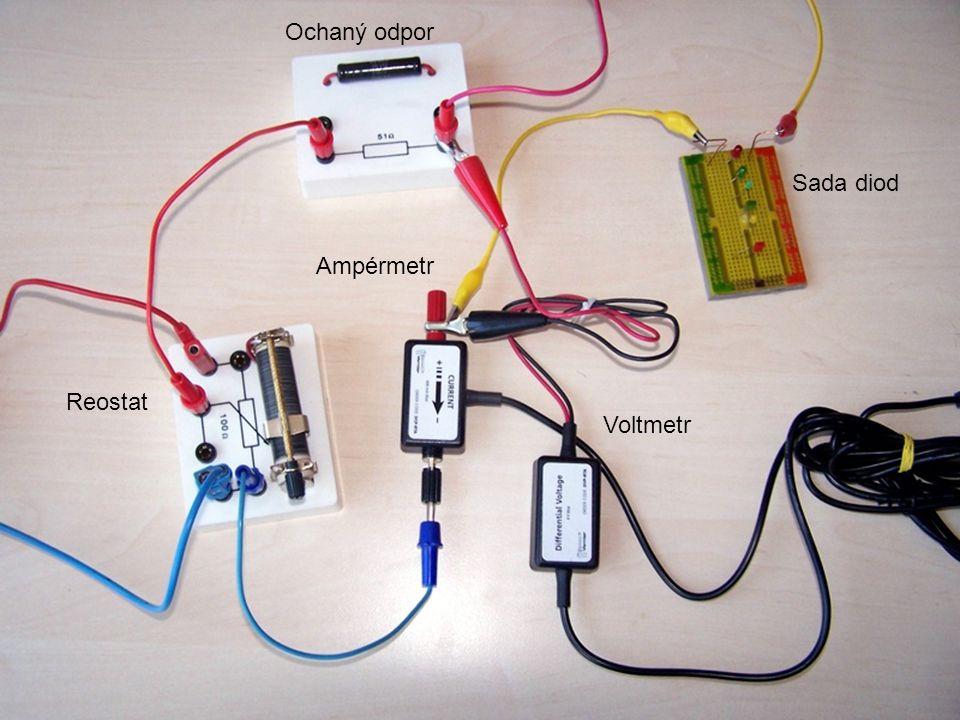 Ochaný odpor Sada diod Ampérmetr Reostat Voltmetr