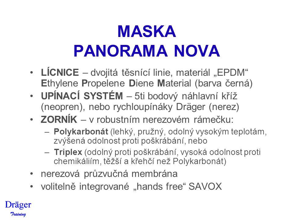 """MASKA PANORAMA NOVA LÍCNICE – dvojitá těsnící linie, materiál """"EPDM Ethylene Propelene Diene Material (barva černá)"""