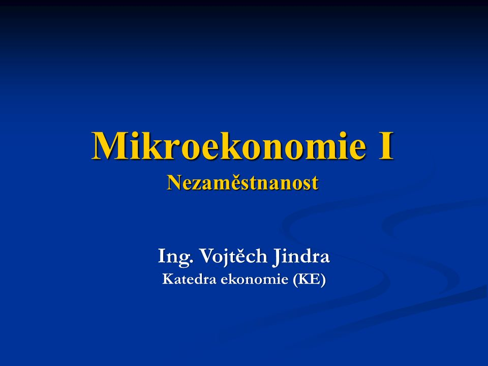 Mikroekonomie I Nezaměstnanost
