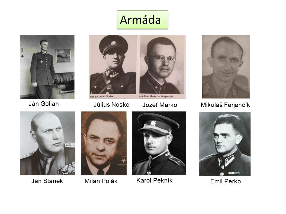 Armáda Ján Golian Július Nosko Jozef Marko Mikuláš Ferjenčík
